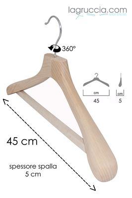 Grucce appendini, per abiti, uomo, in legno faggio naturale