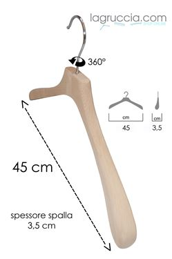 Gruccia in legno faggio Uomo cm 45 art.99053/45RBW