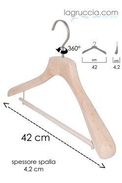 Gruccia in legno faggio Uomo / Donna cm 42 art. 99044/42RBW