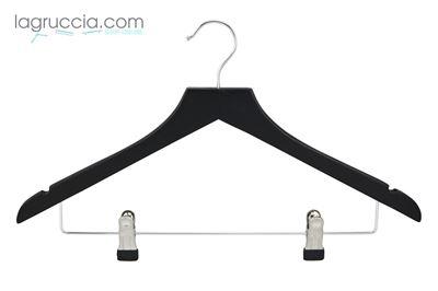 grucce per abiti, in legno nero, capospalla, uomo donna,