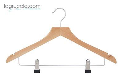 grucce per abiti, in legno, capospalla, uomo donna,