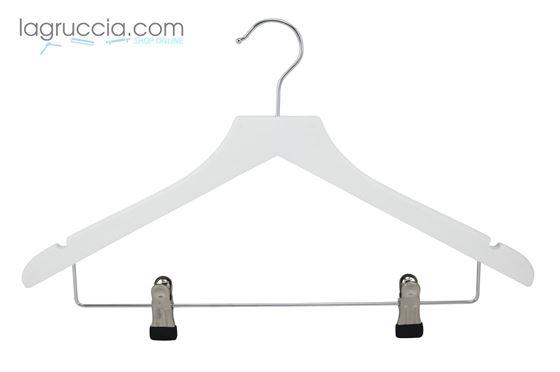 grucce per abiti, in legno bianco, capospalla, uomo donna,