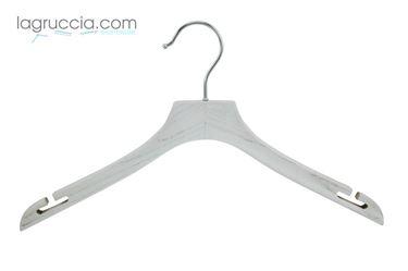 grucce per abiti, in legno bianco, effetto industriale, donna, uomo
