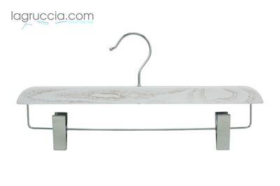 Gruccia con clips, in legno, bianco effetto industriale
