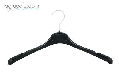 gruccia appendino, in plastica nera, donna, alette anticaduta bretelle